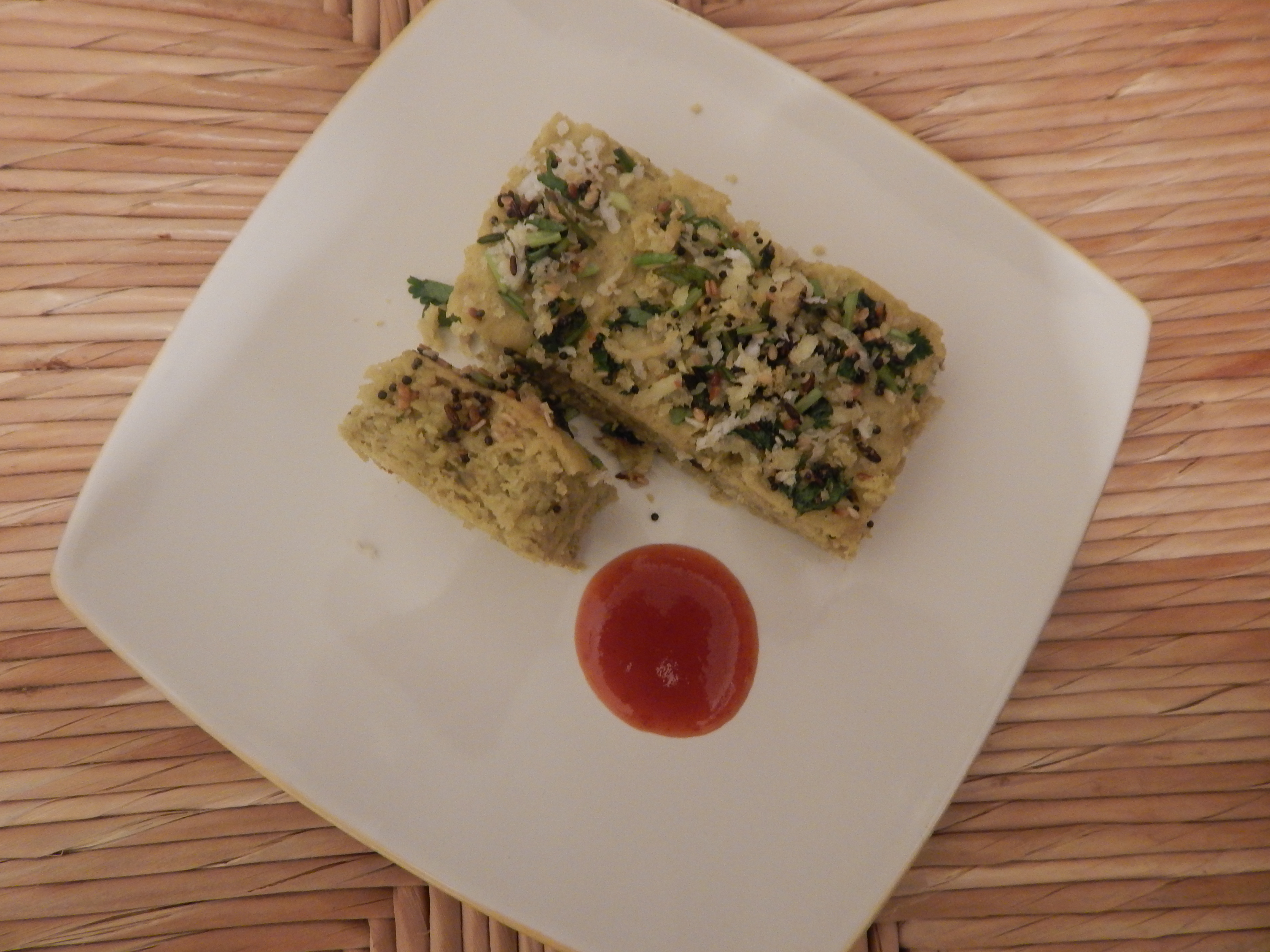 Green peas dhokla the indian food court ready to serve green peas dhokla with tomato kethup forumfinder Gallery