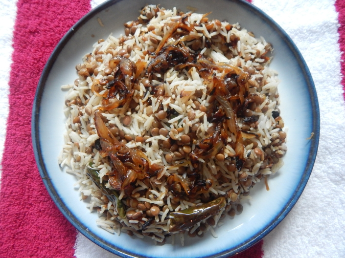 Mujadara (Rice, Lentils and caramelzised onion pulav) « The Indian ...